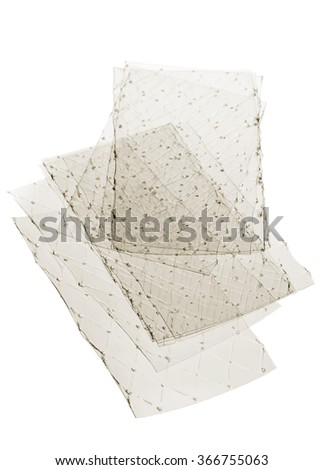 Stacked leaves of gelatine on white background - stock photo