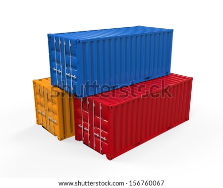 Stacked Shipping Container - stock photo