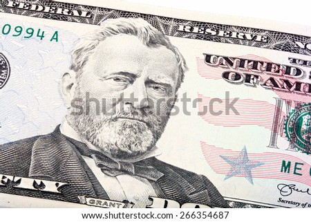 Stacked shot of a U.S. fifty 50 dollar bill close-up of Grant. - stock photo