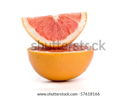 Stacked slices of grape fruit - stock photo