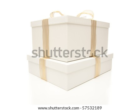 Stacked White Gift Boxes with Gold Ribbon and Bow Isolated on a White Background. - stock photo