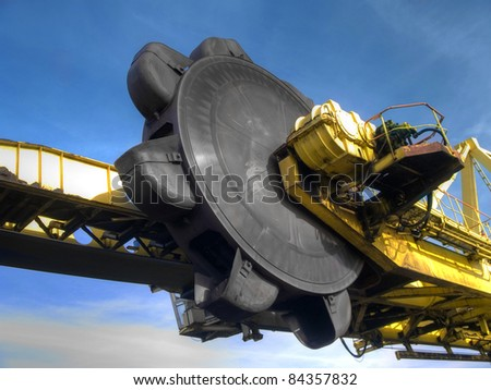 Stacker- reclaimer at coal terminal in Port of  Gdansk - stock photo