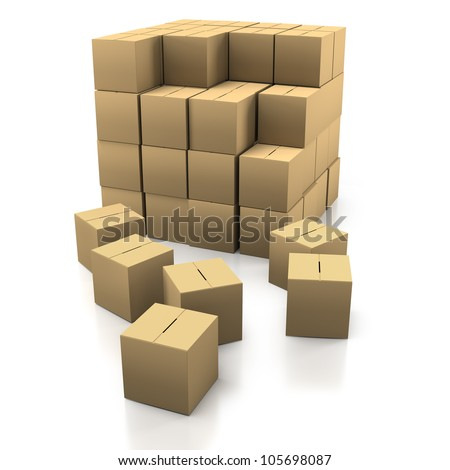 Stacking Cardboard Boxes in a Tidy Stack on a White Background - stock photo