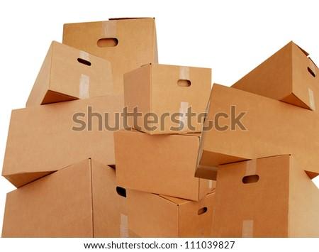 stacking corrugated boxes - stock photo