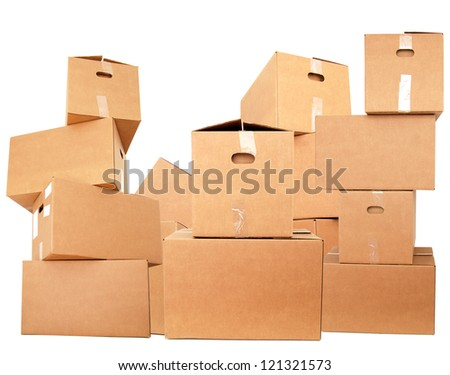 Stacking on cardboard boxes - stock photo