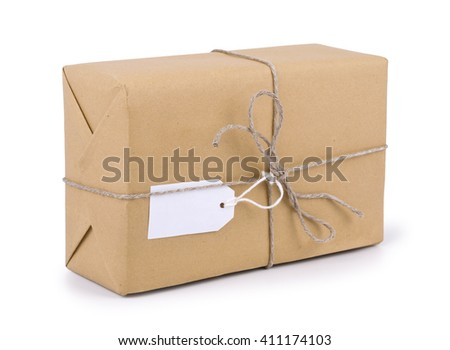 Stacking parcels box with kraft paper,isolated on white background. - stock photo