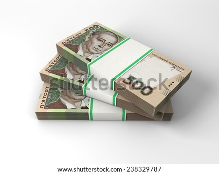 Stacks of banknotes of five hundred hrivnyas isolated on white background - stock photo