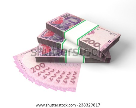 Stacks of banknotes of two hundred hrivnyas isolated on white background - stock photo