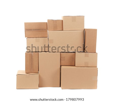 Stacks of cardboard boxes. Isolated on a white background. - stock photo