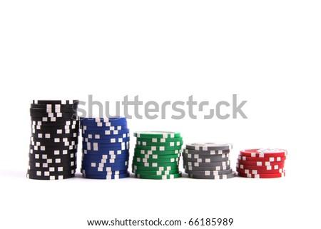 stacks of casino poker chips isolated on white background - stock photo