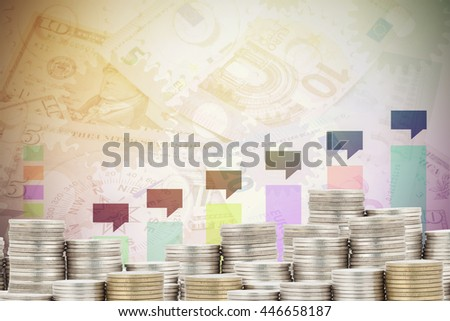 Stacks of coins with Business chart and banknotes  background,Business Finance concept - stock photo