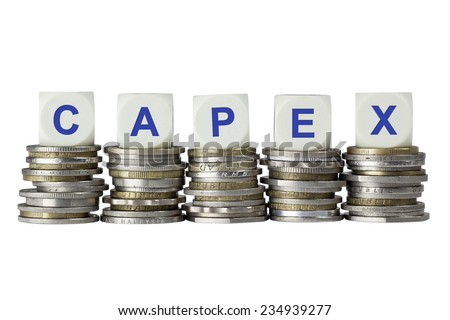 Stacks of coins with the letters CAPEX isolated on white background  - stock photo