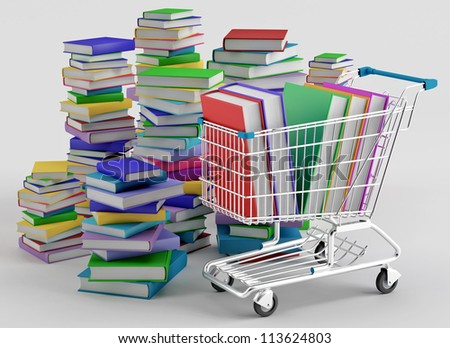 Stacks of colorful books next to a shopping cart - stock photo