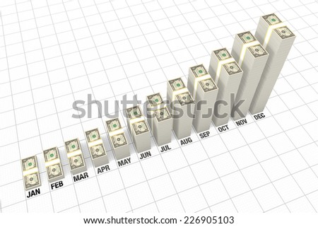 Stacks of dollar bills growing - stock photo