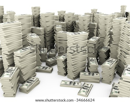 Stacks of dollars on white background - stock photo