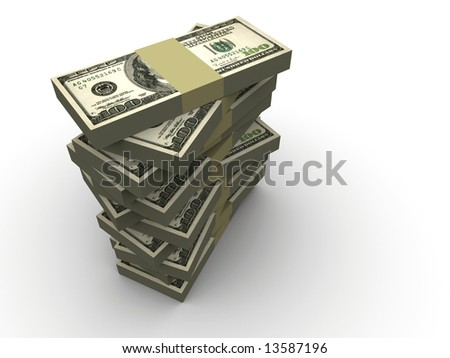 Stacks of dollars on white background - 3d render - stock photo