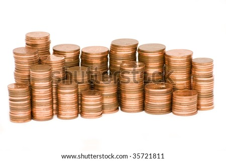 stacks of Euro cents isolated on white - stock photo