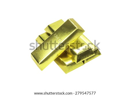 Stacks of gold bars isolated on white with clipping path - stock photo