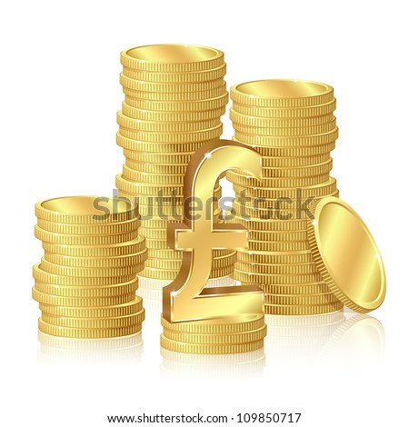 Stacks of gold coins and pound sterling sign - stock photo