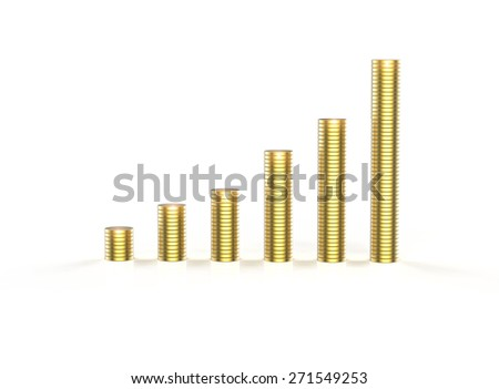 Stacks of golden coins isolated on a white background. Business  concept - stock photo