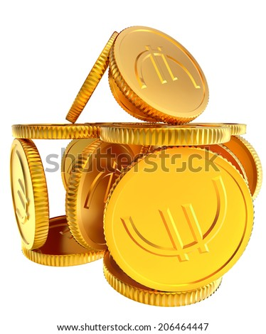 Stacks of golden EURO coins on white background - stock photo