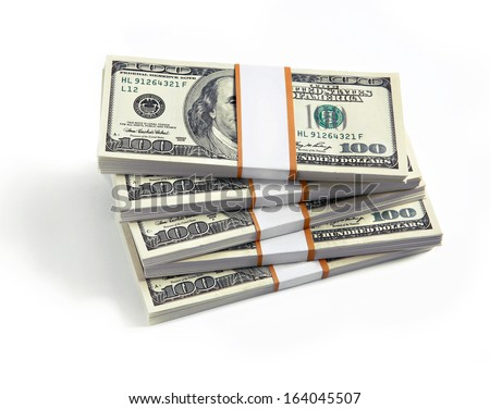 Stacks of hundred dollars / studio photography of american banknotes of hundred dollar  - stock photo