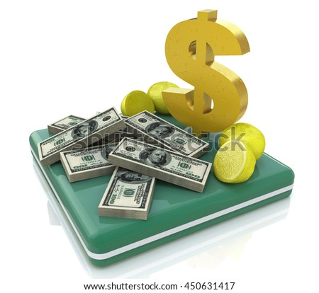 Stacks of money and dollar sign in the design of information related to business and economy. 3d illustration - stock photo