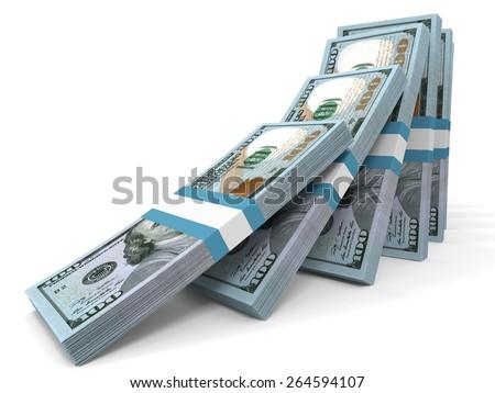 Stacks of money. New one hundred dollars. 3D illustration. - stock photo