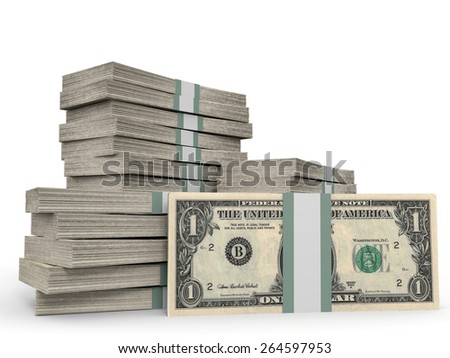 Stacks of money. One dollar. 3D illustration. - stock photo