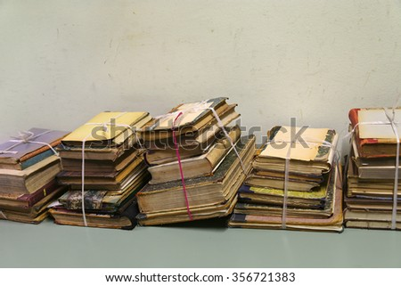 Stacks of old books - stock photo