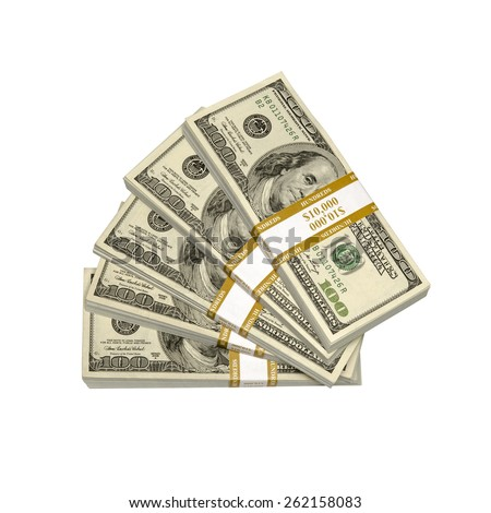 Stacks of one hundred $100 dollar bills. Thousands of dollars. A stack is one thousand dollars. Stacks is a synonym for thousands referring in terms of dollars. Isolated over white background - stock photo