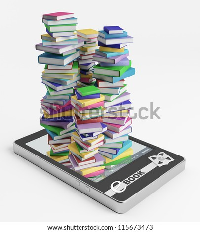Stacks of ordinary books grow from display - stock photo