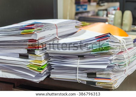 Stacks of Papers on the table - stock photo