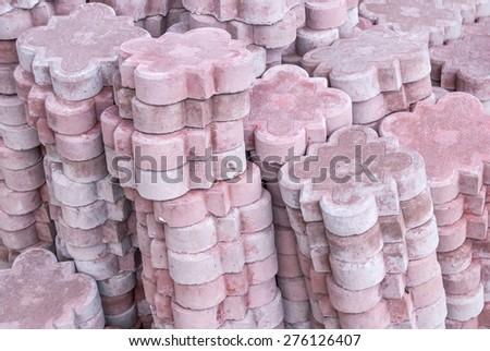 Stacks of paving stones - stock photo