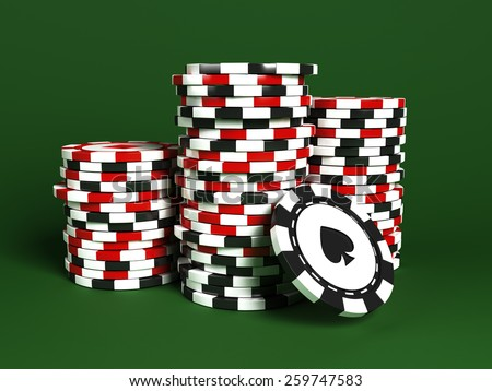 Stacks of poker chips - stock photo