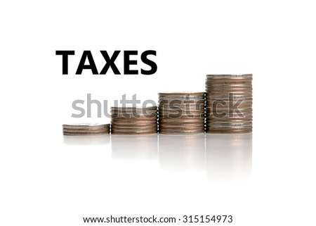 stacks of Russian rubles with title taxes - stock photo
