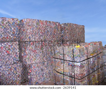 stacks of scrap packing over  blue sky - stock photo