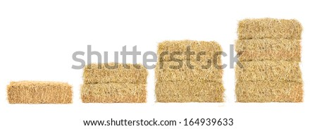 stacks of straw step by step, isolated on white - stock photo