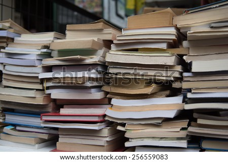 stacks of very old books - stock photo