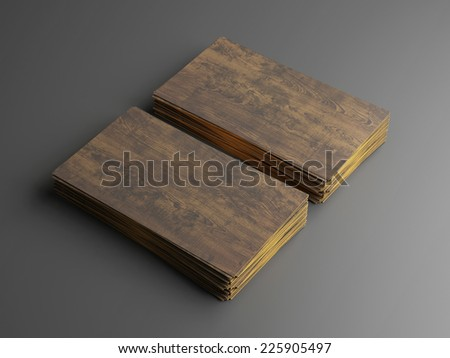 Stacks of wood business cards - stock photo
