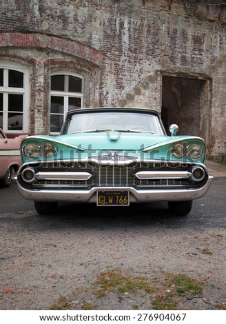 Stade, Germany - may 2, 2015: 1959 Dodge custom Royal at MOPAR Spring Fling annual meeting for vintage automobiles built by Chrysler Corporation - stock photo