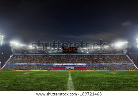 stadium before the match. Night, illuminated - stock photo