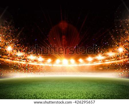 stadium confetti - stock photo