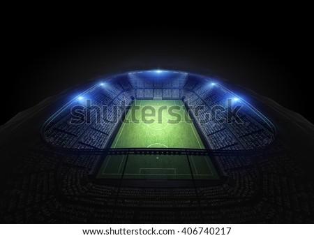stadium 3d rendering, the imaginary soccer arena - stock photo