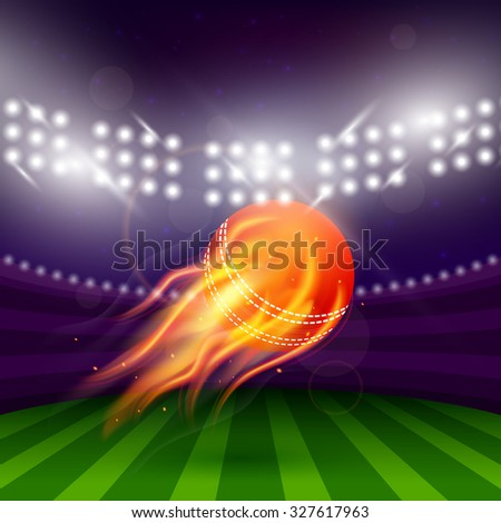 Stadium of cricket at night with flying ball in fire  illustration - stock photo
