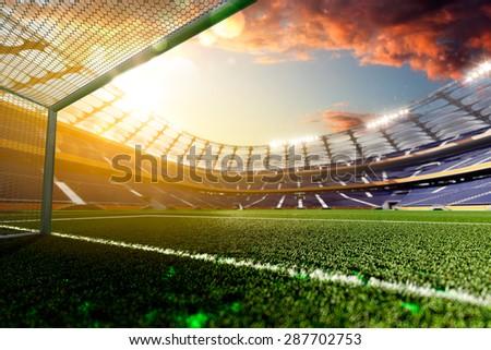 Stadium Soccer in day light 3d render - stock photo