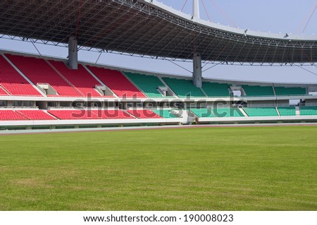 Stadium turf seat - stock photo