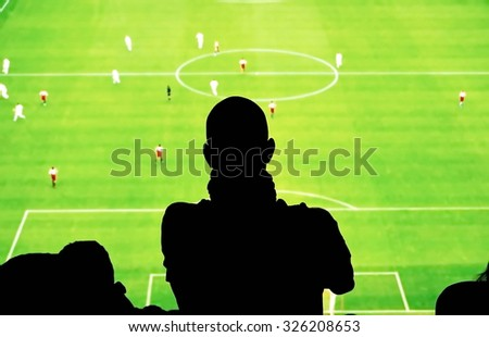 Stadium with fans silhouettes soccer fans stadium - stock photo