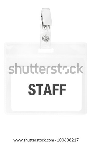 Staff badge or ID pass isolated on white background, clipping path included - stock photo