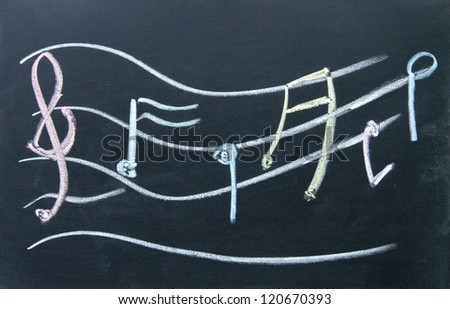 Staff notation  sign drawn with chalk on blackboard - stock photo